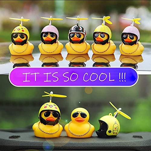 BSGP Auto-Dekoration, kreativ, niedlich, mit Helm, kleine gelbe Ente, Puppe, Auto-Zubehör für Auto, Innendekoration, Fahrräder, Motorräder, Kindergeschenk (Hai) - 2