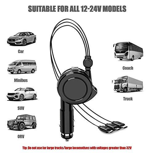 Quick Charge autolader, adapter, USB autolaadadapter met 1 m USB-C laadkabel, compatibel met verschillende mobiele telefoons, fietsrecords, bluetooth-headsets, navigatieapparaten