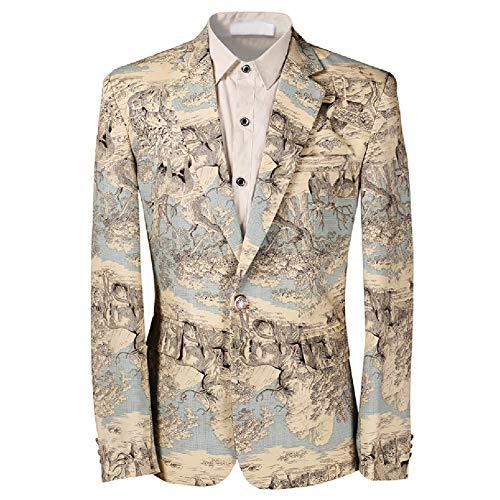 Allthemen Slim Fit Herren Sakko Bunter Muster Blazer Anzugjacke Smoking für Hochzeit Party Type1 XS