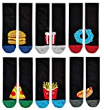 Soxy Paquete de 10 calcetines para hombre con diseño de desayuno, tamaño 6-11, huevos de tocino, regalo novedoso Paquete de 7 calcetines de comida rápida. 40/45 ES