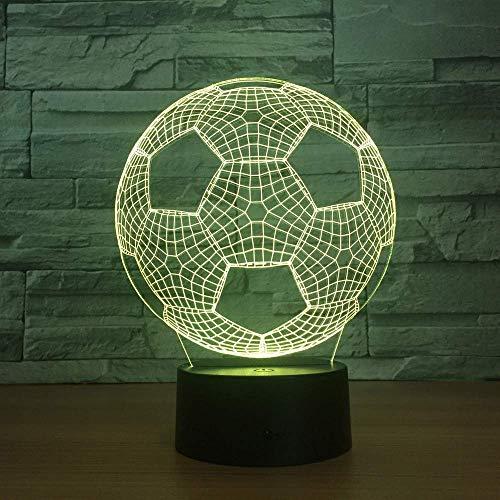 Fútbol 3D Luz De Noche Led Lámpara De Ilusión 3D Creativa Lámpara De Mesa De Escritorio Usb Para Coche Dormitorio Táctil 7 Colores Lámpara De Atmósfera Cambiante