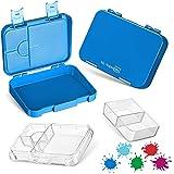My Vesperbox – Bento Box Kinder - Lunchbox mit 4+2 Fächern - extrem robust – Brotdose – Brotbox ideal für Kindergarten und Schule… (Blau)