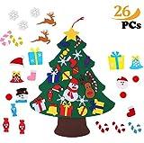 ZoneYan Albero Natale Feltro, Albero di Natale Bambini con 26 Pezzi Decorazioni, DIY Staccabile Decorazione da Parete per Bambini Decorazione di Natale
