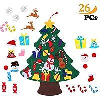①🎄Qualità premium -------albero di Natale in feltro decorativo realizzato in tessuto di feltro di alta qualità, resistente, portatile, inodore, innocuo per i bambini. Design morbido e leggero, facile da arrotolare e riutilizzare ogni anno. Liberi dal...