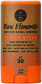 Raw Elements Tinted Face Stick Certified Natural Sunscreen   Non-Nano Zinc Oxide, 95% Organic, Very Water Resistant, Reef ...