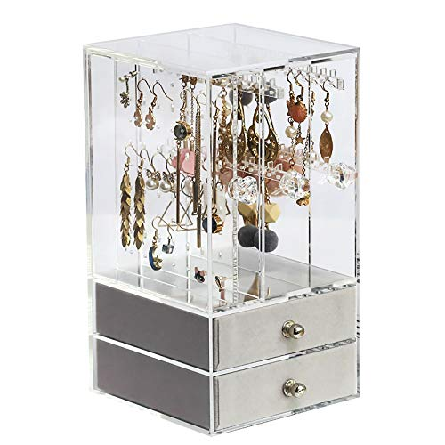 WJLED Multifunctional Side-Pull Jewelry Box, Large-Capacity Glass Jewelry Box, High Transmittance, Suitable for Earrings, Rings And Jewelry Display