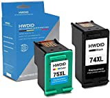 HWDID Remanufactured Ink Cartridge Replacement for HP 74 75,HP 74XL 75XL (1 Black,1 Tri-Color) Use with HP Officejet J6480 J5780 Deskjet D4260 D4360 Photosmart C4280 C5280 C4580 C5580 Printer