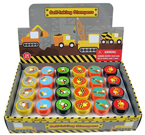 TINYMILLS 24 Pcs Construction Trucks Stampers for Kids Garbage Truck Dump Truck Party Favors Giveaways Classrooom Rewards Pinata Fillers Party Treat Goody Bag Stuffers