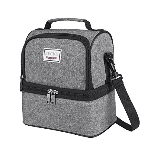 Becky Lunch Box Insulated Lunch Bag for Men & Women, Waterproof Large Coole Tote Bag for Work/School/Picnic with Double Deck Spacious Compartments Detachable Shoulder Strap (Grey)