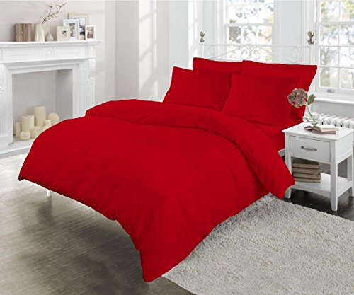 Sleep&Beyond Easy Care Percale Oxford Pillow Cases (Red, 4 Pack)