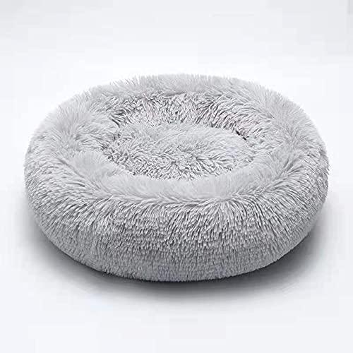 XIAOFEI Cama para mascotas de felpa, mullida de felpa para cachorros y gatitos, cama redonda, cálida y suave para mascotas,  parte inferior antideslizante y gris lavable( Código XL) diámetro 70)