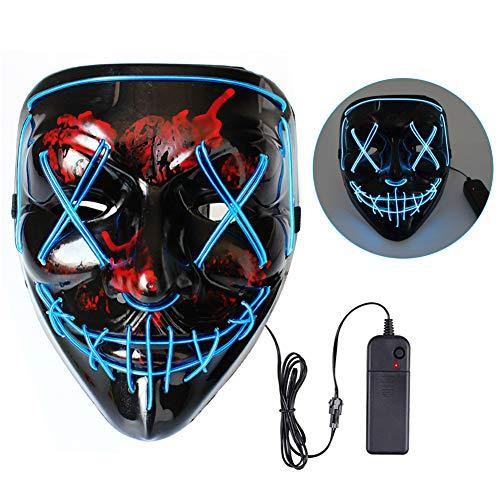 Sunshine smile LED Purge Maske,Maske mit 3 Blitzmodi,Maske Leuchten,LED Grusel Maske,Rave Maske,LED Maske für Halloween Fasching Karneval,LED Maske für Cosplay Party (Blau)