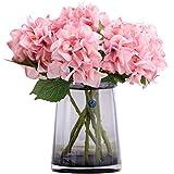 FagusHome 8 Pz Fiore di Ortensia Artificiale con Steli Fiori Artificiali Fiori Finti per Bouquet per la Decorazione (Rosa)