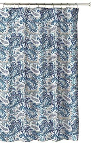 Dekostoff Duschvorhang, Paisleymuster, Marineblau / Taupe / Beige / Weiß