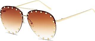 BVAGSS Women Rimless Oversized Studded Sunglasses Gradient Lens Rivet Fashion WS027