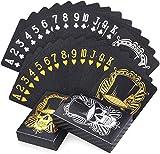 joyoldelf 2 Baraja Poker Negros Geniales, Baraja de Cartas de Póquer Impermeables con Diseño de Calavera con Caja, para Fiestas y Juegos, 1 Oro + 1 Plata