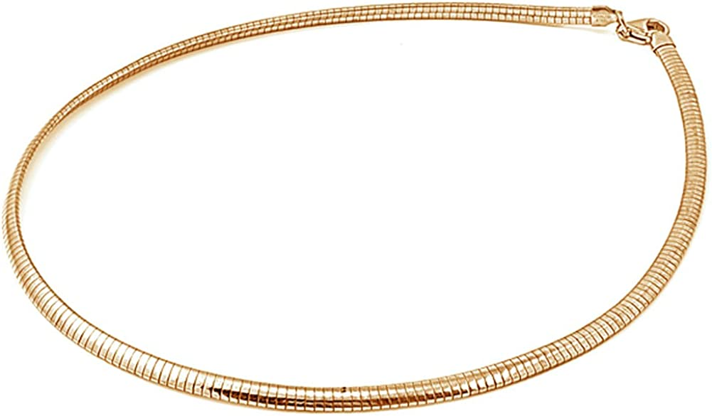 Sterling Sale Silver Gold-Tone Reversible Omega Solid Free shipping on posting reviews Chain Snake 4mm