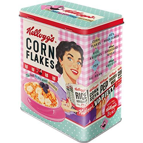 Nostalgic-Art 30147 Kellogg's-Happy Hostess Corn Flakes | Vorratsdose L | Aufbewahrungs-Box | Cornflakes Blech-Dose | Metall Tarro L, Metal, 10 x 14 x 20 cm