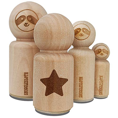 Star Curved Points Rubber Stamp for Stamping Crafting Planners - 1/2 Inch Mini