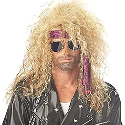 Peluca rubia rizada larga de los años 80 Peluca de salmonete para hombre Fokuhila Peluca de Cosplay Fiesta de disfraces de Halloween