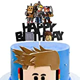 AERZETIX Robot Video Game Cake Topper Birthday Blocks Game Themed Decor for Kids Boys Girls Building Sign Party Decorations Supplies