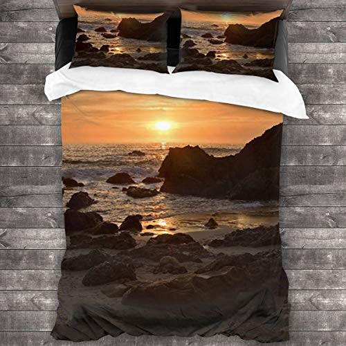 AIMILUX Funda Edredón,Woods Cove Laguna Beach,Ropa de Cama Funda Nórdica,1(240x260cm)+2(50x80cm)