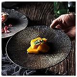 Xiuxiu plate Creative Antique Japanese Ceramic Dish Home Retro Simple Steak Plate Western Dish