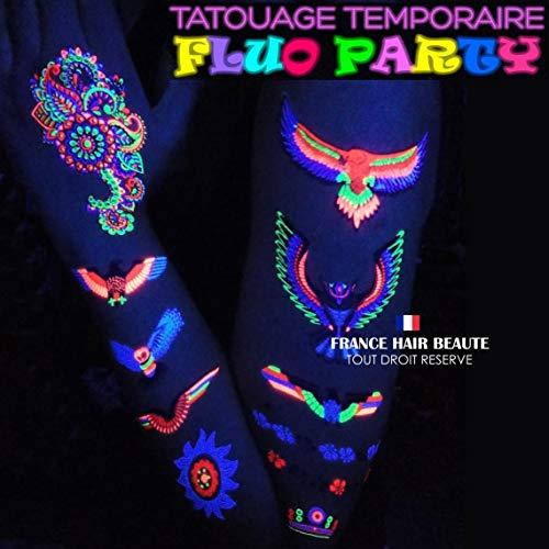 Soiree Fluo 2 Planches + 1 Gratuite Tatouages Fluorescents Temporaires 2 Planches DIFFERENTES + 1 Gratuite. Top Cadeaux Filles Femmes et Hommes.