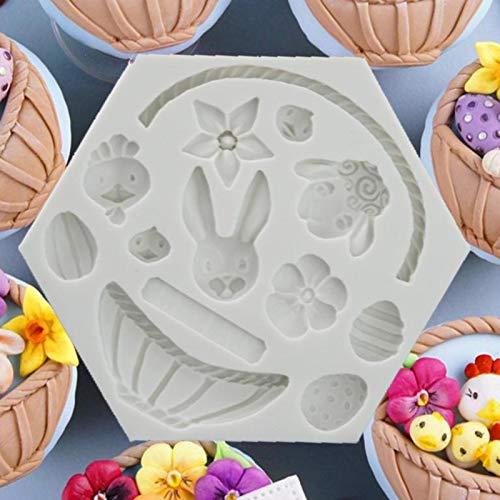 Dreameryoly Torta Stampo in Silicone 3D Cesto di Fiori Mousse Stampi Torta Decorazione Fondente Easter Bunny Uovo di Cioccolato Stampo Modello di casa per Muffin Cupcakes Stampo e budino Suitable