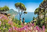Qinunipoto 背景布 撮影 スタジオ撮影用背景布 专业级摄影 背景ボード 自然の風景 庭の海岸 美しい景色 山の木々 紫色の花 屋外の風景 レジャー写真 透けない 無反射 ポリエステル 洗濯可 撮影布 2.5m x 1.5m