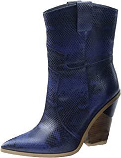 RAZAMAZA Women Western Boots High Heel Mid Boots Pointed Toe Mid high Boots Slip On Wide Calf Boots Shenlan Size 39 Asian Blue