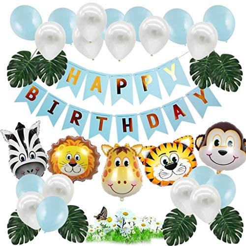 Amycute 36 Stück Dschungel Geburtstag Dekoration Tier Folienballon Geburtstag Banner Dschungel Tierballons für Waldtiere Baby Shower Geburtstag Partydekorationen.