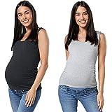 HAPPY MAMA Femme 2 Tops en Paquet Débardeur de Maternité d'allaitement 1071 (Graphite Mélange & Gris Chiné, EU 36, S)