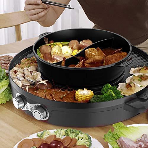 Bella estate Pentola calda, griglia per barbecue per uso domestico, 2 in 1 senza fumo elettrico anti-secco 44 cm in alluminio nero per cucina domestica(European standard 220V)