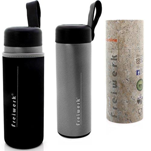 freiwerk Mug isotherme de voyage en cuir et acier inoxydable - 350 ml - Double paroi - Mug à café en acier inoxydable brossé - Gris