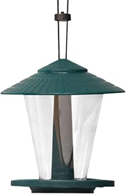 Nature's Rhythm Plastic Green Lantern Bird Feeder Round Shaped with Roof Hanging Wild Bird Feeder, 2.5lbs Capacity