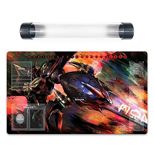 Omegamon Digimon Card Game Playmat with Card Zones DTCG Play Mat Free Best Tube