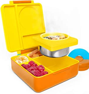 OmieBox Bento Box for Kids - Insulated Bento Lunch Box with Leak Proof Thermos Food Jar - 3 Compartments, Two Temperature Zones - (Sunshine) (Single)