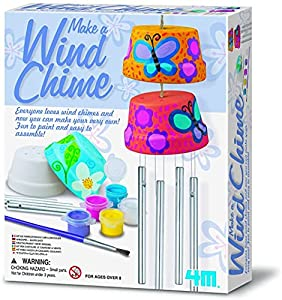 The make a wind chime kit combines the science of wind power with arts and crafts materials to create and personalize a pair of beautiful wind chimes This kit includes two terra cotta pots, a paint strip and brush, cord, line and chime rods The simpl...