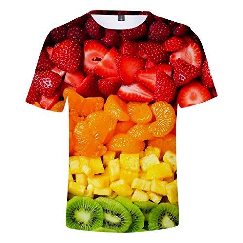 ODRD Clearance Sale Hot Jugend Herren T-Shirt Frühling Sommer Mode Obstteller Erdbeere Unisex 3D-Druck kreative Rundhals Beiläufige Kurze Hemdoberseite Weste Vest T-Shirts Top Tanktop Bluse t shirts