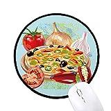 Pizza Italien Tomaten Lebensmittel Knoblauch Runde rutschfeste Mousepads schwarz genähte Kanten Game Office Geschenk
