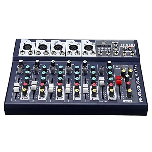 QuRRong Mesa de Mezclas 7 Canales DJ Mezclador DE Audio DE Audio Bluetooth USB Reverb Efecto Mezcla Amplificador DE Consola para Transmisión en Vivo (Color : Black, Size : One Size)