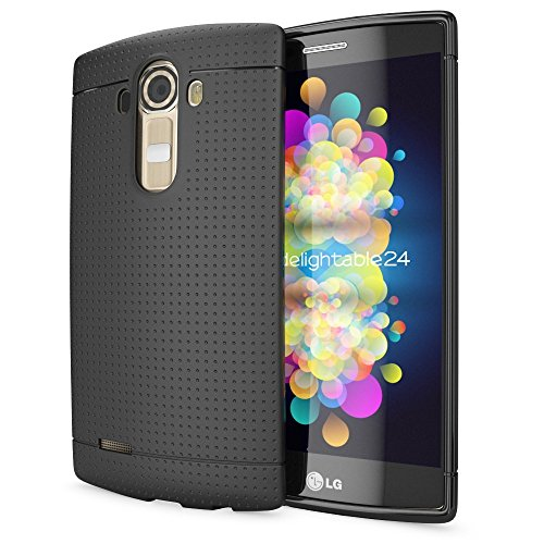 NALIA Handyhülle kompatibel mit LG G4, Ultra-Slim Hülle Softcover, Dünne Punkte Schutzhülle, perforierte Etui Handy-Tasche Back-Cover Bumper, TPU Smart-Phone Silikonhülle Hülle - Mesh Schwarz