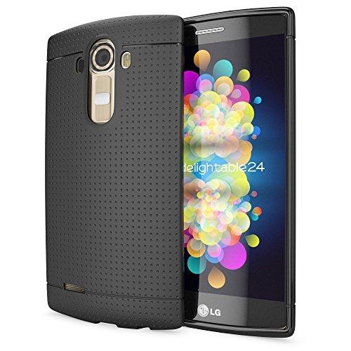 NALIA Funda Carcasa Compatible con LG G4, Protectora Movil Silicona Fina Bumper Estuche con Puntos, Goma Cubierta Telefono Celulare Cobertura Delgado Dot Cover Smart-Phone Case - Negro