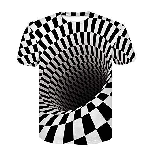 MEIPINPAI T-Shirt T-Shirt à Capuche pour Homme Rayures imprimées 3D Vertige Fleur rafraîchissant Costume à Manches Courtes à Capuche-Une_L