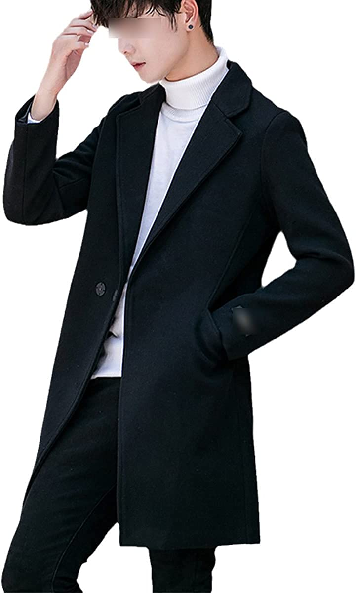 Fall/Winter Men's Woolen Coat Lapel Trend Korean Style Slim Men's Long Trench Coat Thick Warm Jacket
