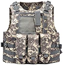 AKARMY Outdoor Camo Assault Army Shooting Hunting Vest,Adjustable Tactical Military Vest,Airsoft Paintball with Removeable Pouche 0888 ACU