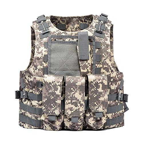 AKARMY Outdoor Tactical Vest, Camo Airsoft Paintball Vest, Adjustable Vest with Removable Pouch 0888 ACU