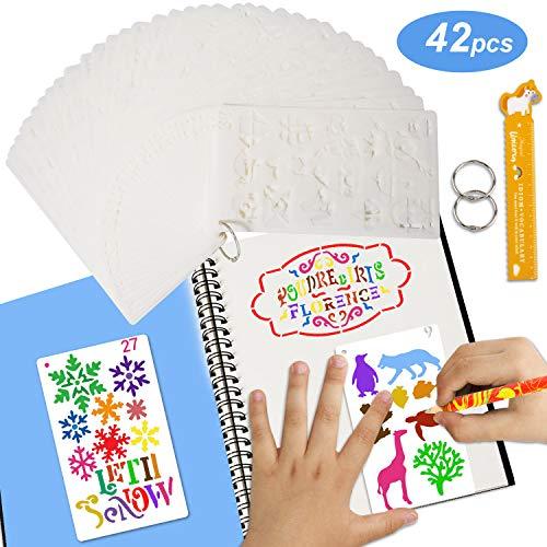 Juego de 42 Journal DIY Stencil Plantillas y Rotuladores Reutilizables Plantillas Pintura, Bullet Diario Stencil Set Para Dibujar, Cuaderno, libro de recuerdos y Colorear Libros con Regla