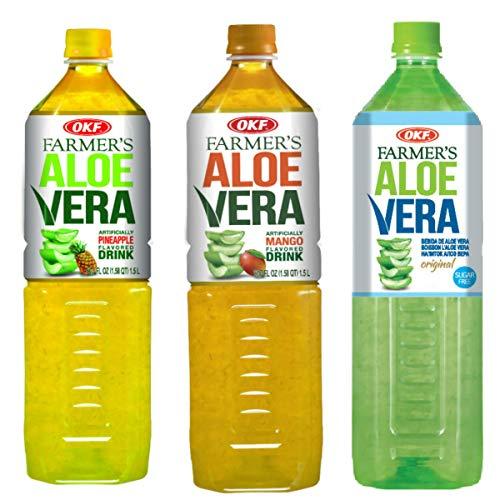 OKF Farmer's Aloe Vera Drink, Mango, Pineapple & Sugar Free, 50.7 Fluid Ounce (Pack of 12 each)